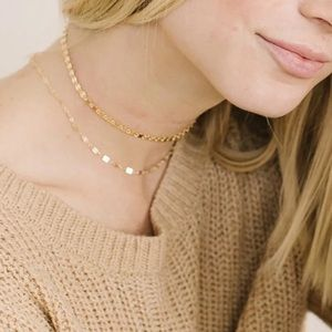 Dainty Gold Choker & Disc Choker Necklace Set